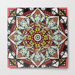 Ganesha Indian Elephant Mandala Metal Print