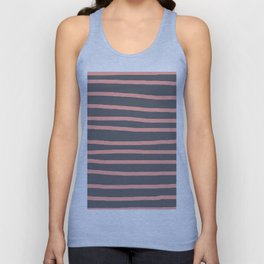Simply Drawn Stripes Salmon Pink on Storm Gray Unisex Tank Top