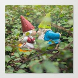 First Kiss - Garden Gnome Canvas Print