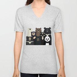 Bear family portrait Unisex V-Neck