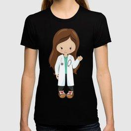 Cute Girl, Girl Doctor, Brown Hair, Lab Coat T-shirt