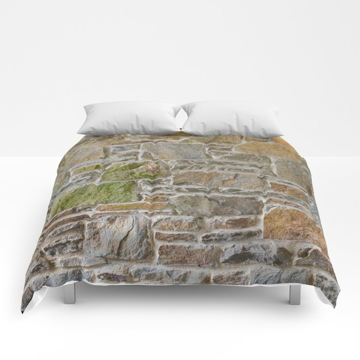 Avondale Brown Stone Wall and Mortar Texture Photography Comforters