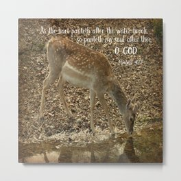 Psalms Bible Verse with Deer Metal Print