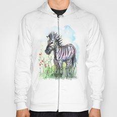 Zebra Whimsical Animal Art Hoody