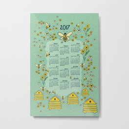 Honey Bee 2017 Calendar Metal Print
