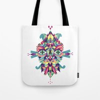 mask Tote Bags featuring Mask by Cobrinha