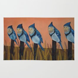 Blue Birds and Barley  Rug