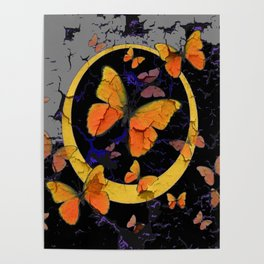 """SHABBY CHIC """"OFF THE WALL"""" BUTTERFLIES &  BLACK  ART Poster"""