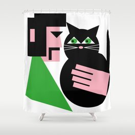 CAT WITH HIS LAD Shower Curtain