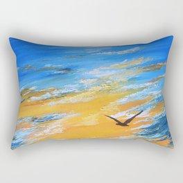 ocean sunset, original oil painting landscape, blue wall art, beach decor Rectangular Pillow