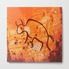 Moab Red Rock with Stylized Buffalo Petroglyph Metal Print
