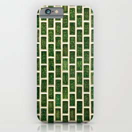 Green 70s Glass Tile // White Grout Natural Surface Texture iPhone Case
