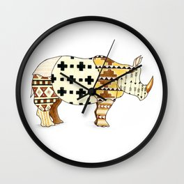 Tribal Rhino Wall Clock