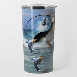 Steampunk Yin-Yang ocean Dolphins Travel Mug