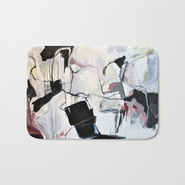 Many Road Abstract Contemporary Artwork Lines Marks Pink Black White Bath Mat