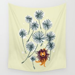 Lion on dandelion Wall Tapestry