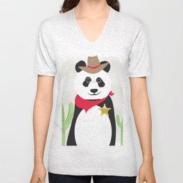 Panda Bear Sheriff Unisex V-Neck