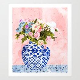 Ceramic Planter #painting #plants Art Print