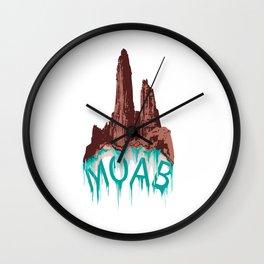 Moab Utah graphic rock climbing hiking camping  Wall Clock