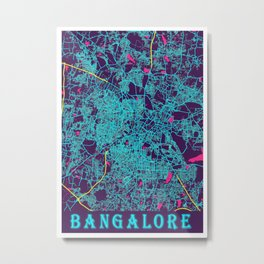 Bangalore Neon City Map, Bangalore Minimalist City Map Art Print Metal Print
