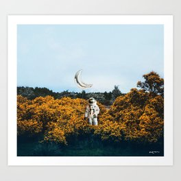 for you, flowers and the moon. Art Print