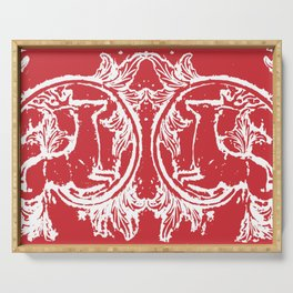 twin dancing stags of asheville from a wood carving Serving Tray