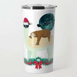 Llama Sloth Christmas Santa's Sleigh Silhouette In Front Of The Moon Travel Mug