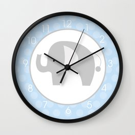Mod Elephant Gray with Blue Background Wall Clock Wall Clock