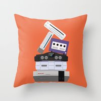 nintendo Throw Pillows featuring Nintendo Consoles by Michael Walchalk