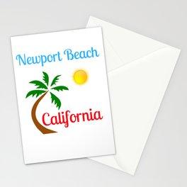 Newport Beach California Palm Tree and Sun Stationery Cards
