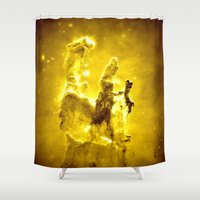 nebula Shower Curtains featuring Yellow neBUla  by 2sweet4words Designs