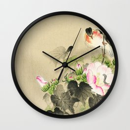 Bird sitting on a bush - Vintage Japanese Woodblock Print Art Wall Clock