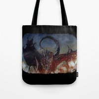smaug Tote Bags featuring Smaug by Cécile Pellerin