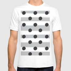BLACK DOTS MEET WHITE STRIPES MEDIUM White Mens Fitted Tee