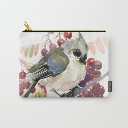 Cute Little Bird and Berries, Tufted Titmouse Carry-All Pouch