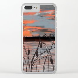 Cattail Sunset Clear iPhone Case