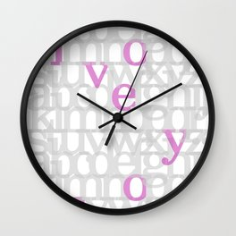 The ABC of i love you. In Pink Wall Clock