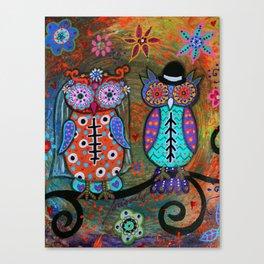 MEXICAN OWL WEDDING COUPLE  DIA DE LOS MUERTOS PAINTING Canvas Print