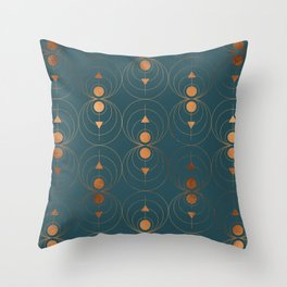 Copper Art Deco on Emerald Throw Pillow