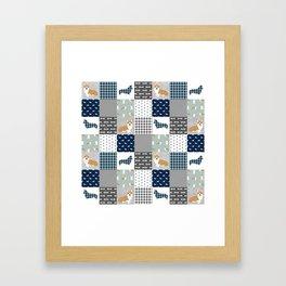 Corgi Patchwork Print - navy, dog, buffalo plaid, plaid, mens corgi dog Framed Art Print