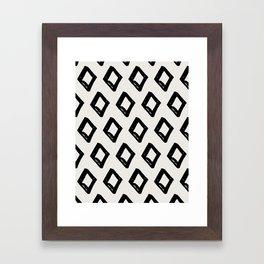 Modern Diamond Pattern Black on Light Gray Framed Art Print