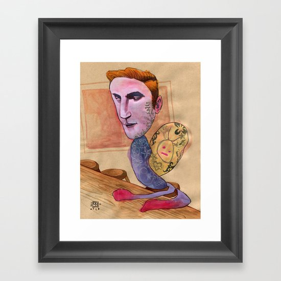 TATTOOED SNAIL DUDE Framed Art Print