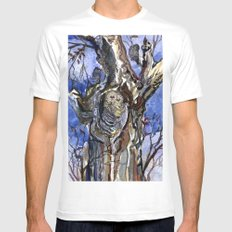 Two Owls and Two Crows Share One Tree MEDIUM Mens Fitted Tee White