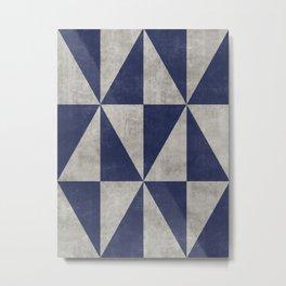 Geometric Triangle Pattern - Concrete Gray, Blue Metal Print