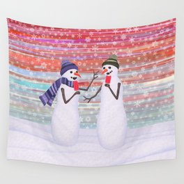 snowmen with popsicles Wall Tapestry