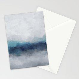 Indigo Navy Ocean Horizon, Sky Gray Blue Abstract Nature Ocean Rainy Cloudy Sunrise Water Art Print Stationery Cards