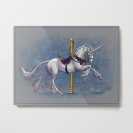 Carousel Unicorn Metal Print