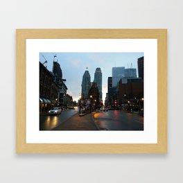 A downtown evening Framed Art Print