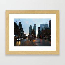 A downtown evening Framed Art Print