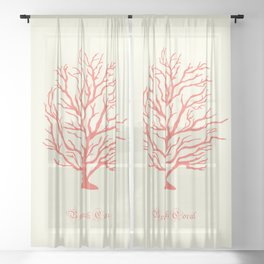 AFE Branch Coral, Living Coral Sheer Curtain